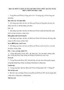 200 câu hỏi và đáp án ôn tập thi công chức Quảng Ngãi đợt 2 môn tin học