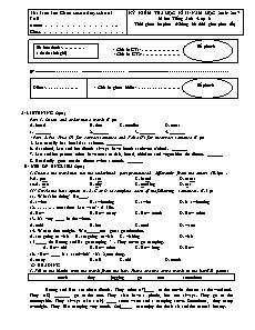 Đề kiểm tra học kì II môn Tiếng Anh - lớp 6
