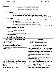 Giáo án Đại số 10 nâng cao - Chương I: Mệnh đề - Tập hợp
