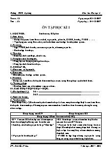 Giáo án Hóa học 8 - Tiết 35 - Ôn tập học kì I