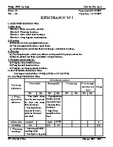 Giáo án Hóa học 8 - Tiết 36 - Kiểm tra học kì I