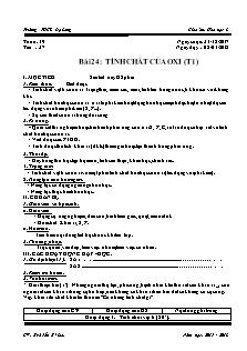 Giáo án Hóa học 8 - Tiết 37, 38 Bài 24 - Tính chất của oxi