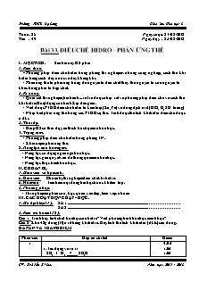 Giáo án Hóa học 8 - Tiết 49 Bài 33: Điều chế hidro – phản ứng thế