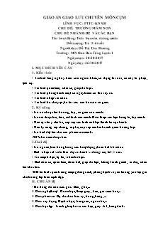 Giáo án Lớp 5, 6 tuổi - Chủ đề: Trường mầm non - Chủ đề nhánh: Bé và các bạn