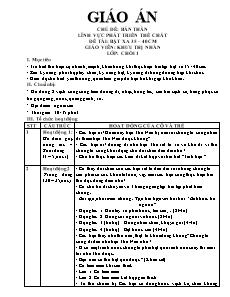 Giáo án Lớp chồi - Lĩnh vực phát triển thể chất - Đề tài: Bật xa 35 – 40 cm