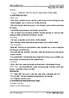 Giáo án Ngữ văn 8 - Tiết 37 - Văn bản: thông tin về ngày trái đất năm 2000