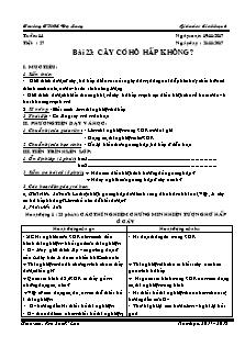 Giáo án Sinh học 6 - Tiết 27 Bài 23 - Cây có hô hấp không?