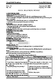 Giáo án Sinh học 8 - Bài 21 - Hoạt động hô hấp
