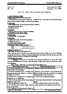 Giáo án Sinh Học 8 - Tiết 27 Bài 25 - Tiêu hóa ở khoang miệng