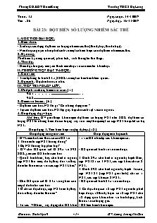Giáo án Sinh học 9 - Tiết 26 Bài 23 - Đột biến số lượng nhiễm sắc thể