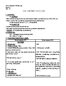 Giáo án Tập đọc – Kể chuyện 3 - Tiết 15 - Các em nhỏ và cụ già