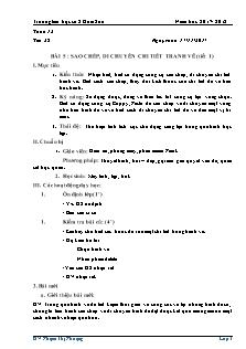 Giáo án Tin học 3 - Bài 5 - Sao chép, di chuyển chi tiết tranh vẽ (2 tiết)