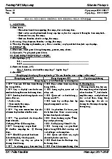 Giáo án Tin học 6 - Tiết 22 Bài 11 - Tổ chức thông tin trong máy tính (tt)
