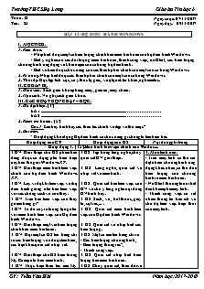 Giáo án Tin học 6 - Tiết 23 Bài 12 - Hệ điều hành windows