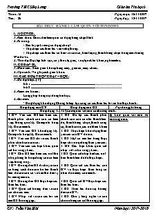 Giáo án Tin học 6 - Tiết 26 - Bài thực hành 2: Làm quen với windows