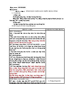 Giáo án Tin học 7 - Tiết 21 – Bài 5: Tính toán đơn giản trên bảng tính