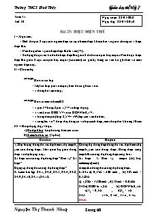 Giáo án Vật lý lớp 7 - Bài 25 - Hiệu điện thế
