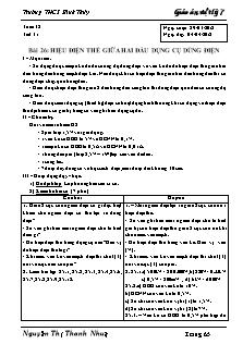 Giáo án Vật lý lớp 7 - Bài 26 - Hiệu điện thế giữa hai đầu dụng cụ dùng điện