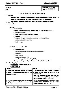 Giáo án Vật lý lớp 7 - Bài 29 - An toàn khi sử dụng điện