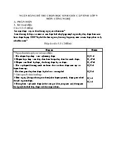 Ngân hàng đề thi chọn học sinh giỏi cấp tỉnh lớp 9 môn Công nghệ - Phần Kĩ thuật điện câu 1