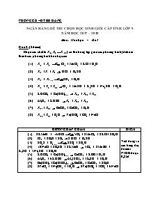 Ngân hàng đề thi chọn học sinh giỏi cấp tỉnh lớp 9 môn Hóa học - Câu 2