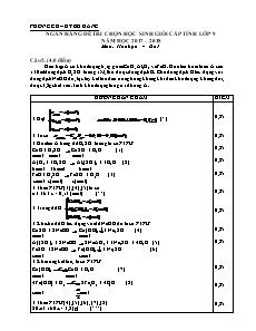 Ngân hàng đề thi chọn học sinh giỏi cấp tỉnh lớp 9 môn Hóa học - Câu 5
