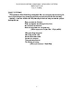 Ngân hàng đề thi chọn học sinh giỏi cấp tỉnh môn Ngữ văn 9 - Câu 3