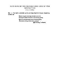Ngân hàng đề thi chọn học sinh giỏi cấp tỉnh môn Ngữ văn 9 - Câu 1