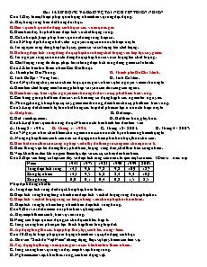 Trắc nghiệm Địa lý 12 - Bài 14 và 15