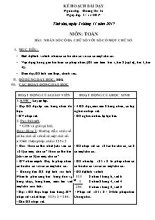 Giáo án Toán 3 - Nhân số có ba chữ số với số có một chữ số