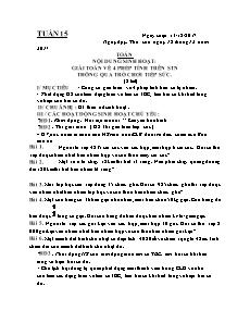 Giáo án Câu lạc bộ lớp 4 - Tuần 15, 16